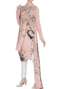 floral-printed-sequin-draped-layer-tunic