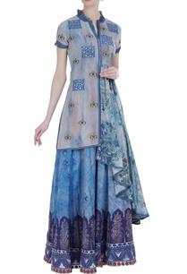 khadi-organza-printed-kurta-with-skirt