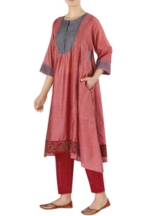 chanderi-flared-uneven-hemline-kurta-with-pants