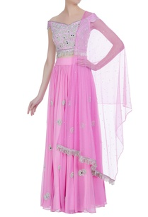 pleated-lehenga-with-off-shoulder-sequin-blouse-net-dupatta