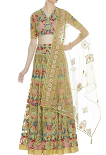 multicolored-net-floral-thread-work-lehenga-set