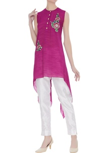 asymmetrical-tunic-with-floral-patch-work