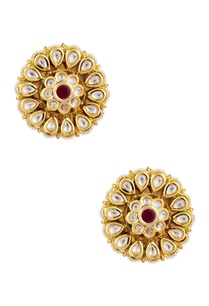 kundan-pearl-floral-stud-earrings