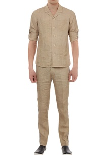 cuban-collar-shirt-with-casual-trousers