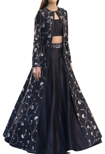 raw-silk-embroidered-long-jacket-with-blouse-lehenga