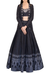 raw-silk-fringe-jacket-with-blouse-lehenga