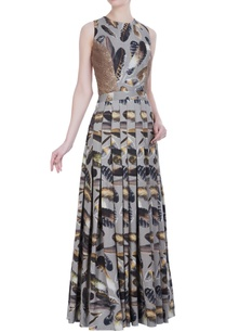 feather-printed-pleated-gown