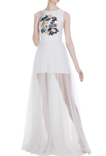 embroidered-romper-with-sheer-panel-skirt