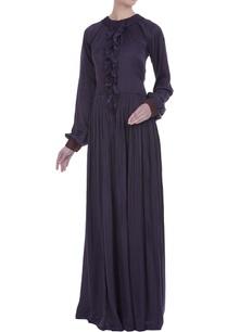 ruffle-detail-check-printed-maxi-dress