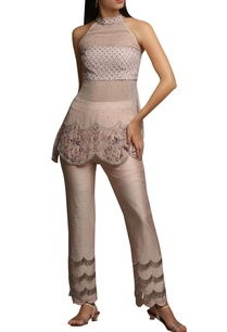pastel-hand-embroidered-raw-silk-tassel-bead-pants-with-halter-peplum-blouse