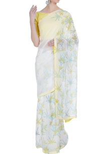 floral-hand-painted-sari-with-unstitched-blouse