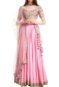 bias-cut-lehenga-with-sequin-blouse-net-dupatta