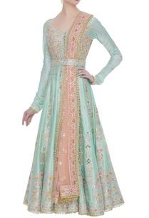 chanderi-silk-anarkali-set-with-embroidered-belt-and-dupatta