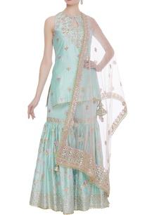 chanderi-silk-sharara-set-with-pink-dupatta
