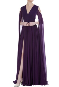 flared-sleeves-floor-length-gown