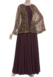 pleated-anarkali-with-sequin-embroidered-cape