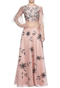 embroidered-blouse-with-block-printed-lehenga