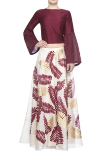 satin-linen-blouse-with-printed-lehenga
