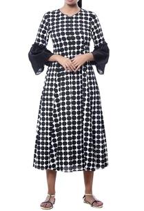 cuff-sleeve-tunic-with-polka-dots