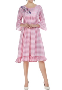 checkered-midi-dress-with-embroidery-detail