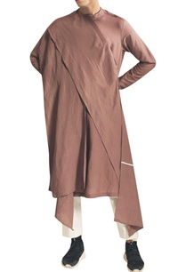 draped-kurta-with-asymmetric-hemline