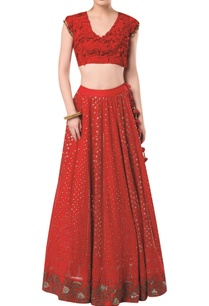 embroidered-lehenga-with-cap-sleeves-blouse