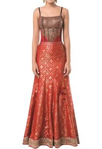 spaghetti-sleeves-corset-blouse-with-mermaid-lehenga
