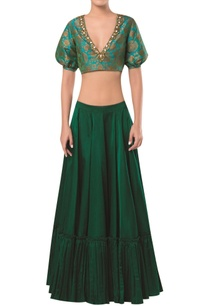 brocade-blouse-with-frill-detail-lehenga