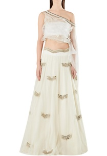 one-shoulder-ruffle-cape-blouse-with-lehenga