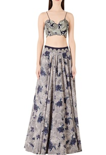 spiral-printed-lehenga-with-spaghetti-blouse