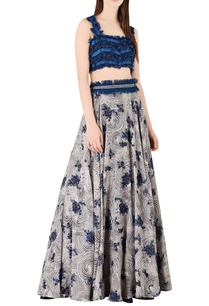 denim-fringe-blouse-with-printed-lehenga