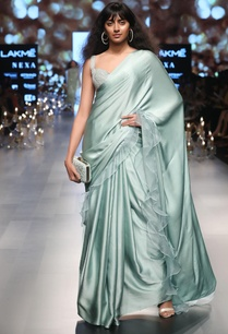 ruffle-boder-sari-with-embellished-blouse