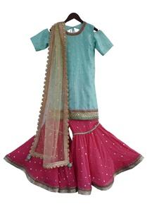 embroidered-kurta-with-gharara-pants-dupatta