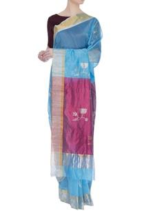 pure-chanderi-sari-with-lotus-all-over-silk-palla