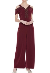 scuba-georgette-bead-embroidered-cold-shoulder-jumpsuit