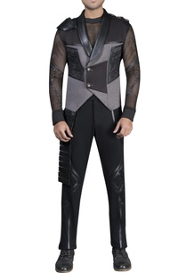 mesh-with-leather-detailed-athlesiure-vest-coat-and-pants-with-t-shirt