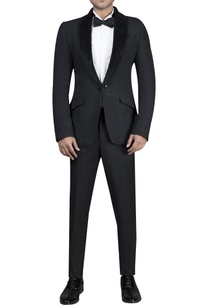 self-textured-button-jacket-with-velvet-lapel-shirt-trousers-and-bow-tie