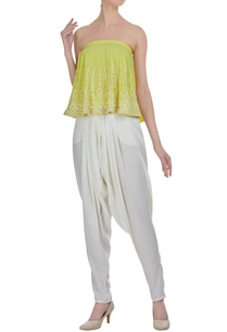 embroidered-tube-blouse-with-draped-pants