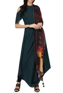 cold-shoulder-asymmetric-kurta-with-scarf