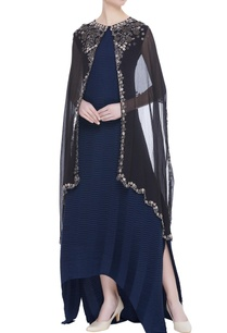 flared-dress-with-embroidered-cape-jacket