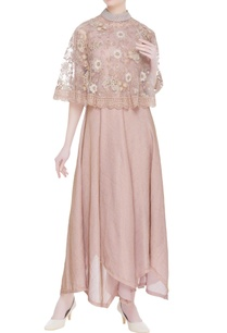 rose-embroidered-cape-asymmetric-dress