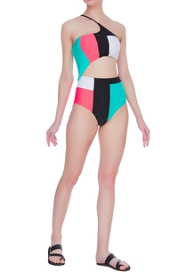 one-shoulder-color-block-swimsuit