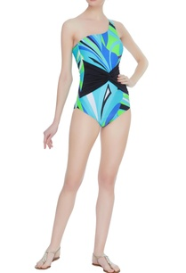 front-knot-printed-one-shoulder-swimsuit