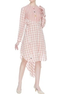 striped-checkered-hand-spun-khadi-dress