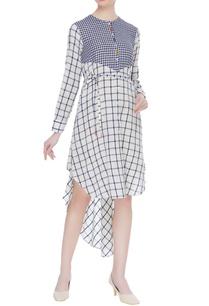 striped-checkered-hand-spun-khadi-dress