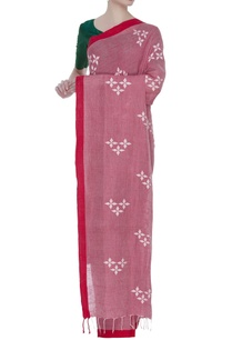 cotton-linen-jamdani-sari-with-unstitched-blouse-fabric