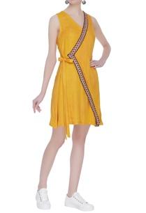 wrap-mustard-short-dress