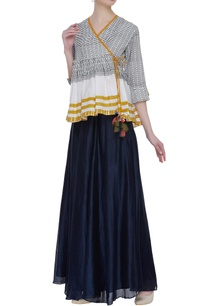 block-printed-wrap-blouse-with-tassels