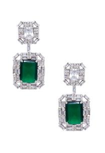 silver-green-mixed-metal-earrings
