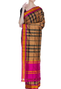 banarasi-silk-gingham-check-sari-with-unstitched-blouse